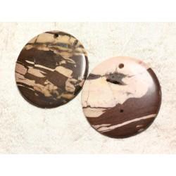 Lot 2pc - Pendentifs en Pierre - Jaspe Zèbre Rond 50mm avec imperfections N12 4558550003737