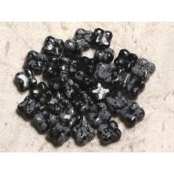 2pc - Perles de Pierre - Obsidienne Flocon Trèfle Fleur 9-10mm 4558550003805