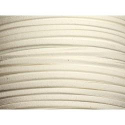 5 mètres - Cordon Lanière Suédine 3x1.5mm Blanc 4558550003812