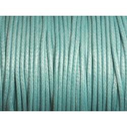 5 mètres - Cordon Coton Ciré 2mm Bleu Turquoise 4558550003850