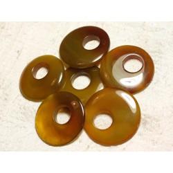 1pc - Donut Pendentif Pierre Agate 42-46mm Jaune Orange 4558550003966