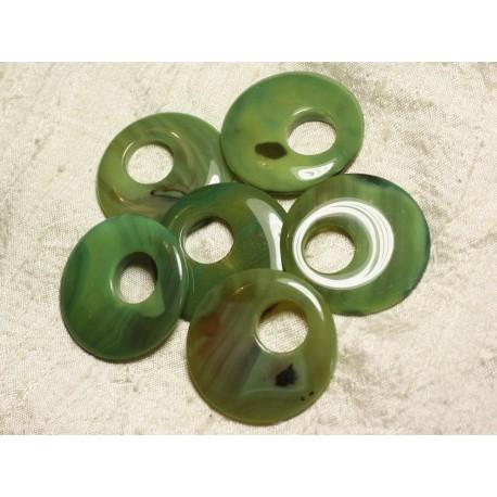 1pc - Donut Pendentif Pierre Agate Verte 42-46mm 4558550003980