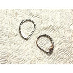 10pc - Boucles Oreilles Métal Argenté Rhodium Dormeuses 15mm N°1 4558550004017