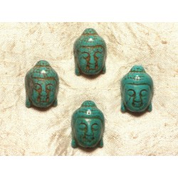 2pc - Perle Bouddha 29mm Turquoise Synthèse Bleu Turquoise 4558550004048