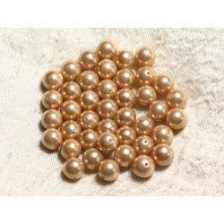 10pc - Perles Nacre Boules 8mm ref C12 Jaune Doré 4558550004109