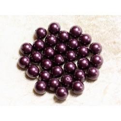 10pc - Perles Nacre Boules 8mm ref C11 Violet Aubergine 4558550004116