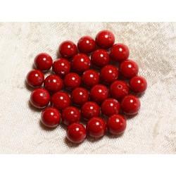 10pc - Perles Nacre Boules 8mm ref C10 Rouge Cerise 4558550004123
