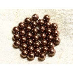 10pc - Perles Nacre Boules 8mm ref C8 Marron Doré 4558550004147