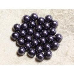 10pc - Perles Nacre Boules 8mm ref C5 Bleu Indigo 4558550004178