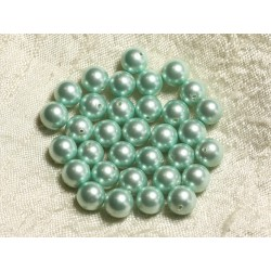 10pc - Perles Nacre Boules 8mm ref C4 Vert Menthe 4558550004185