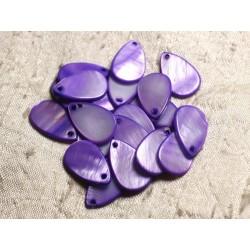10pc - Perles Breloques Pendentifs Nacre Gouttes 19mm Violet 4558550004192