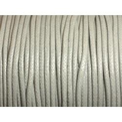 5 mètres - Cordon Coton Ciré 2mm Gris clair - 4558550004239