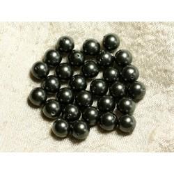 10pc - Perles Nacre Boules 8mm ref C1 Gris Noir 4558550004253