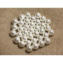 10pc - Perles Nacre Boules 8mm ref C13 Blanc 4558550004260