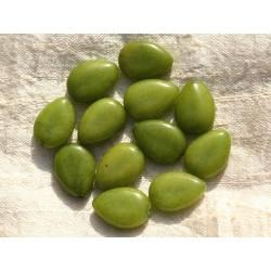 4pc - Perles de Pierre - Jade Verte Gouttes 18x13mm - 4558550004277