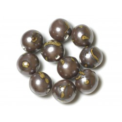 10pc - Grosses Perles Céramique Porcelaine Boules 20mm Marron Jaune 4558550004406