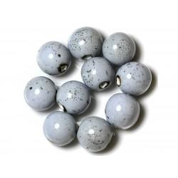 10pc - Grosses Perles Céramique Porcelaine Boules 20mm Bleu et Noir 4558550004413