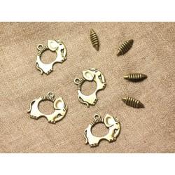 20pc - Fermoirs Toogle T Métal Bronze Qualité Elephant 25mm 4558550004512