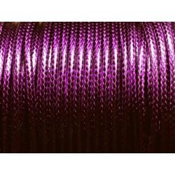 3 mètres - Cordon Coton Ciré 3mm Violet 4558550004796