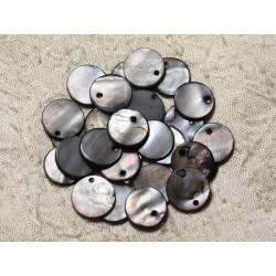 10pc - Perles Breloques Pendentifs Nacre - Ronds 15mm Gris Noir 4558550004888