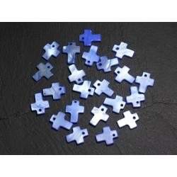 10pc - Perles Breloques Pendentifs Nacre Croix 12mm Bleu 4558550004949