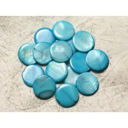 10pc - Perles Nacre Palets 20mm Bleu Turquoise 4558550004963