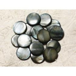 10pc - Perles Nacre Palets 20mm Gris Noir 4558550004970