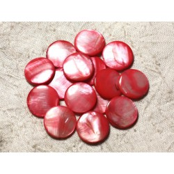 10pc - Perles Nacre Palets 20mm Rose Rouge 4558550005007