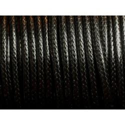3 mètres - Cordon Coton Ciré 3mm Noir 4558550005397