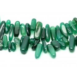 10pc - Perles de Pierre - Agate Verte Rocailles Chips Bâtonnets 10-22mm - 4558550005632
