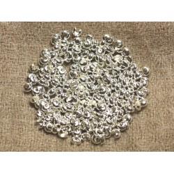100pc - Cache Perles à écraser 4x4mm Métal Argenté Qualité 4558550005717