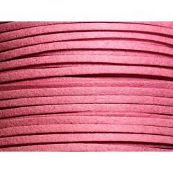 5 mètres - Cordon Lanière Suédine 3x1.5mm Rose Bonbon - 4558550006028