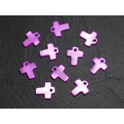 10pc - Perles Breloques Pendentifs en Nacre Croix 12mm Violet Rose 4558550006035