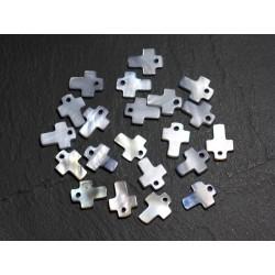 10pc - Perles Breloques Pendentifs Nacre Croix 12mm Gris Noir 4558550006363