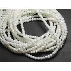 30pc - Perles de Nacre Blanche Irisée Boules 4mm 4558550111500