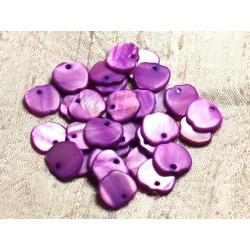 10pc - Perles Breloques Pendentifs Nacre Pommes 12mm Violet Rose 4558550006585