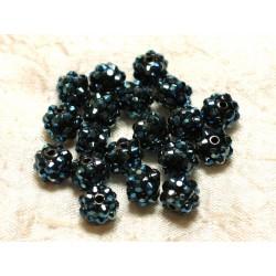 10pc - Perles Résine Shamballas 10x8mm Bleu Noir et Multicolore 4558550006653