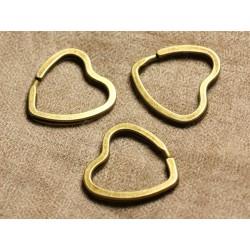 4pc - Anneaux Porte Clefs Métal Bronze Qualité Coeurs 32mm 4558550006752