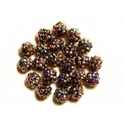 5pc - Perles Shamballas Résine 12x10mm Bronze et Multicolore 4558550006783
