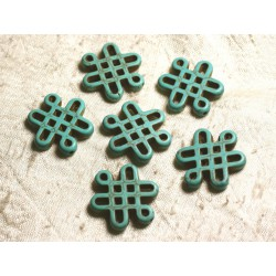 4pc - Perles Turquoise synthèse Noeuds Chinois 28x24mm Bleu Turquoise 4558550006820