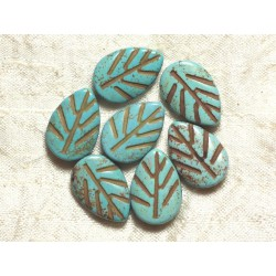 10pc - Perles Turquoise synthèse Feuilles 20mm Bleu Turquoise 4558550006905