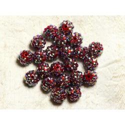 5pc - Perles Shamballas Résine 12x10mm Rouge et Multicolore 4558550007032