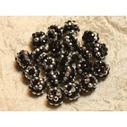 5pc - Perles Shamballas Résine 12x10mm Noir et Argenté N°1 4558550007087