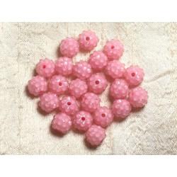 5pc - Perles Shamballas Résine 12x10mm Rose clair et Transparent 4558550007148