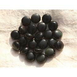 5pc - Perles de Pierre - Obsidienne Noire et Arc en Ciel Palets 10mm - 4558550007261