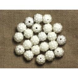 5pc - Perles Shamballas Résine 12x10mm Blanc et Transparent 4558550007407