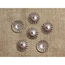 20pc - Coupelles Métal Argenté Rhodium 14x3mm 4558550007476