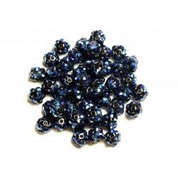 10pc - Perles Shamballas Résine 8x5mm Noir et Bleu 4558550007490