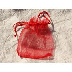 10pc - Sacs Pochettes Cadeaux Bijoux Organza Rouge 10x8cm 4558550007605