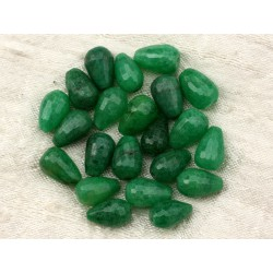 4pc - Perles de Pierre - Jade Verte Gouttes Facettées 12x8mm 4558550021243